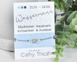 Sternzeichen Armband mit Aquamarin Edelstein, Spruchkarte und Bandfarbe nach Wahl