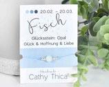 Sternzeichen Armband Fische mit Opal Edelstein, Spruchkarte und Bandfarbe nach Wahl