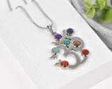 OM Halskette mit 7 Chakrasteinen versilbert 1
