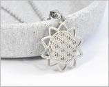 Blume des Lebens Halskette versilbert / Edelstahl