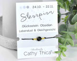 Sternzeichen Armband mit Obsidian Edelstein, Spruchkarte und Bandfarbe nach Wahl