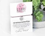 """Wunscherfüller Armband """"Be Happy"""" mit Mandala Anhänger, Spruchkarte und Bandfarbe nach Wahl"""