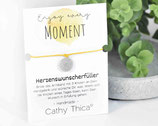 """Wunscherfüller Armband """"Enjoy every moment"""" mit Mandala Anhänger, Spruchkarte und Bandfarbe nach Wahl"""