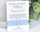 Geburtsstein Armband März mit Aquamarin Edelstein, Spruchkarte und Bandfarbe nach Wahl