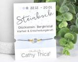 Sternzeichen Armband mit Bergkristall Edelstein, Spruchkarte und Bandfarbe nach Wahl