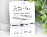 Glücks Armband mit Edelsteinen, 1 Jaspis, Spruchkarte und Bandfarbe nach Wahl.