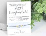 Geburtsstein Armband April mit Bergkristall Edelstein, Spruchkarte und Bandfarbe nach Wahl