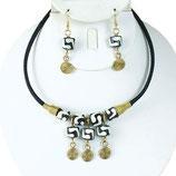Kenya Black White Brass Necklace Set