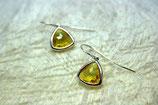 Ohrringe rhodiniert Glas gelb