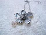 Kette rhodiniert Sonnenblume mit Süßwasserperle