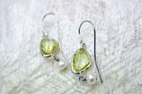 Ohrringe rhodiniert Glas gelb mit Süßwasserperle