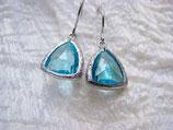 Ohrringe rhodiniert Glas aquamarine