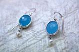 Ohrringe rhodiniert Glas blau mit Süßwasserperle