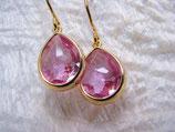 Ohrringe vergoldet Glas pink
