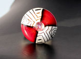 """Ringtop """"Rot-Silber"""" (ohne Ring)"""