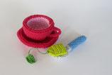 Teetassen-Set: Tasse,Teller,Löffel,Teebeutel