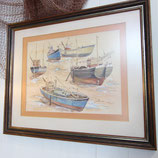 Boats on the hard watercolour painting