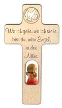 """Engelkreuz  zur Geburt oder Taufe """"Wo ich gehe.."""