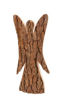 Engel Laubholz mit Rinde (natur) und geschwungenen Flügel