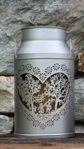 Milchkanne mit Herz gross, silber Ø26x46cm