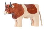 Bauernhofstier Redholstein klein handgesägt mit Nasenring