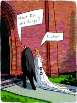 """Cartoon """"Hochzeitsringe"""" von BeCK"""