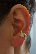 Kleiner Ohrring ohne Ohrloch Silber vergoldet mit Süßwasserperle, 106G
