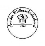 """Holzstempel """"aus der Weihnachtsbäckerei von"""" rund"""