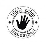 """Holzstempel """"100% echte Handarbeit"""" rund"""