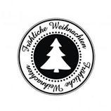 """Holzstempel """"Fröhliche Weihnachten"""" rund"""