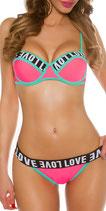 Sexy Bikini LOVE abnehmbare Träger
