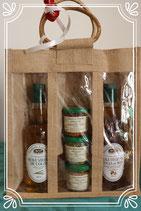Coffret de spécialités aux graines de colza, une bouteille d'huile nature 50cl et une bouteille d'huile noitée 50cl, avec sac en toile