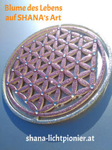 27 cm-Oberflächen-veredelt mit Acryl-Diamanten - Blume des Lebens