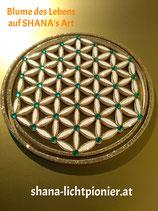 27 cm - Blume des Lebens - Randglitter/Veredelung - mit Acryl-Diamanten
