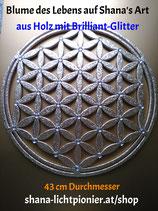 ca. 43cm - Oberflächen-Veredelung mit Acryl-Diamanten - Blume des Lebens