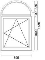 ventana en arco V-22
