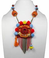 Collier créateur original ethnique nomade mutlicolore, laiton bronze La porte de la Yourte