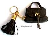 Bijou de sac porte clés cuir chocolat façon croco