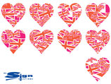 Orange & Magenta Union Jack UK Hearts