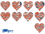 Vintage Union Jack UK Hearts