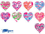 Mixed Magenta Union Jack UK Hearts