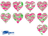 Magenta & Green Union Jack UK Hearts