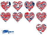 Union Jack UK Hearts