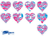 Magenta & Blue Union Jack UK Hearts