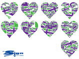 Purple & Green Union Jack UK Hearts