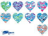 Mixed Blue Union Jack UK Hearts