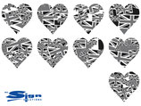 Grey Union Jack UK Hearts