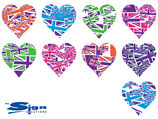 Mixed Purple Union Jack UK Hearts