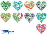 Mixed Green Union Jack UK Hearts