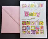 A6 Geburtskarte BABY IST DA (Mädchen oder Junge) mit Couvert